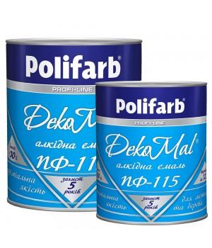 Емаль алкідна Polifarb DekoMal ПФ-115 ГОСТ (Поліфарб)  (0,9 кг/біла)