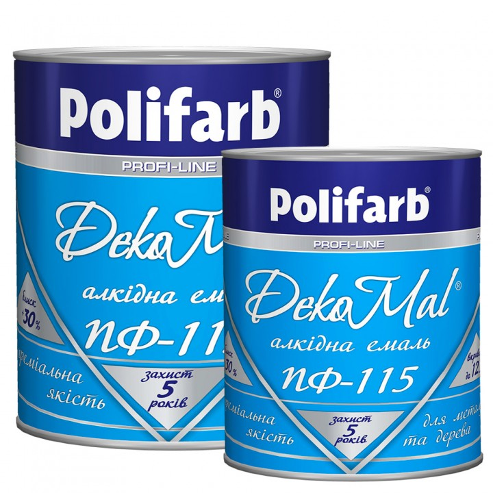 Емаль алкідна Polifarb DekoMal ПФ-115 ГОСТ (Поліфарб)  (0,9 кг/жовта)