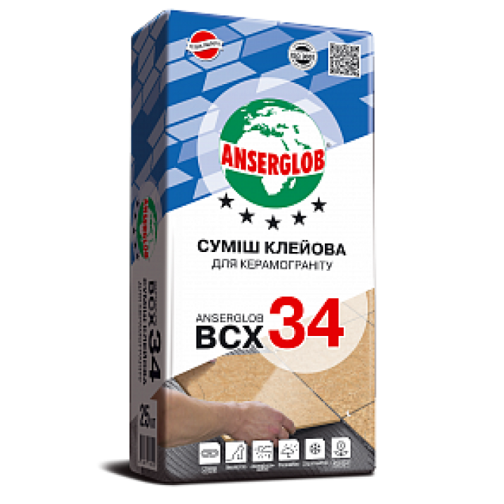 Клей для керамограніту Ансерглоб ВСХ-34 (25кг.)