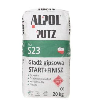Шпаклівка гіпсова 2 в 1 старт+фініш ALPOL Putz AG S23 (20кг)